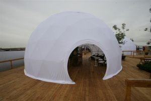 Four treatment domes each housed over 12 massage therapists